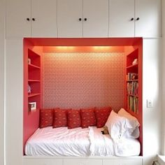 kid's bed and shelves
