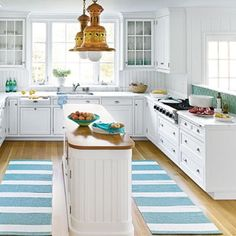 narrow kitchen design ideas | Contemporary Narrow Simple Kitchen Island With White Cabinets And ...