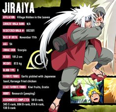 Jiraiya (自来也, Jiraiya) was one of Konohagakure's legendary Sannin. He was known as the Toad Sage (蝦蟇仙人, Gama Sennin) because of his special affinity for toads. Famed as a hermit and pervert of stupendous skill, Jiraiya travelled the world in search of knowledge that would help his friends, the various novels he wrote, and, posthumously, the world in its entirety - knowledge that would be passed on to his godson and final student, Naruto Uzumaki.