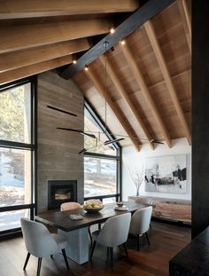 Boulder Mountain Cabin / HMH Architektur + Innenausstattung - Mountain Home Decor Modern Cabin Interior, Home Interior Design, Interior Architecture, Modern Cabin Decor, Modern Log Cabins, Modern Lodge, Casas Containers, Modern Mountain Home, Timber House