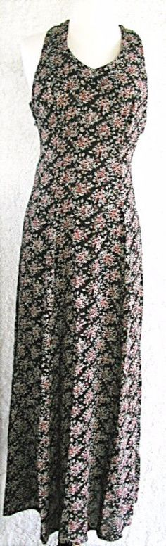 CDC Dress SIZE 4 Black w Floral Print Back Zipper NEW Halter Top Back Strap Detl #CDC #SheathDress #Casual