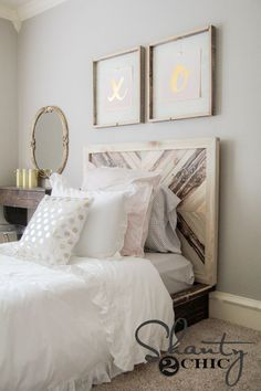 DIY Twin Platform Bed with Chevron Headboard - Free plans and tutorial at www.shanty-2-chic.com