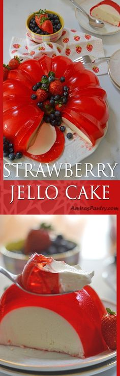 A luscious cream cheese sweet gelatin layer hugged by a strawberry jello and topped with fruits. A delicious no bake easy dessert that has the wow factor you need. #jello #valentinesday #mothersday