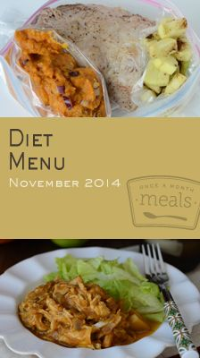 Our Diet November 2014 Menu will have you looking forward to the lighter side of the holidays with pumpkin cranberry granola bars, turkey pot pie soup and cranberry barbecue chicken stocking your freezer this month. | Diet November 2014 Menu | Once A Month Meals | OAMC | Freezer Cooking | Freezer Meals | Customized Shopping List | Custom Serving Menus | Pre-planned Menus | Customize your own!