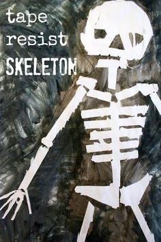 Halloween Art Ideas for Kids :: Tape Resist Skeleton Paintings