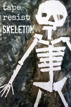Halloween Art Ideas for Kids :: Tape Resist Skeleton Paintings