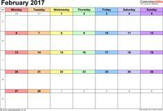 Calendar February 2017 UK, Bank Holidays, Excel/PDF/Word Templates