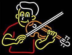 Boy Playing Violin Neon Sign Real Neon Light
