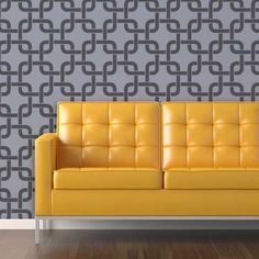 Wall Stencils | Large Linked In Stencil | Royal Design Studio - Thinking of using in our bedroom.