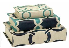 Imax Hadley Book Boxes in Cream/Blue - Set of 3 Book Storage Boxes, Decorative Book Holders for Table Top, Bookshelf. Home Decor Accents >>> Visit the image link more details. (This is an affiliate link) Book Storage, Storage Boxes, Book Shelves, Hidden Storage, Storage Sets, Storage Compartments, Decorative Objects, Decorative Boxes, Decorative Accents