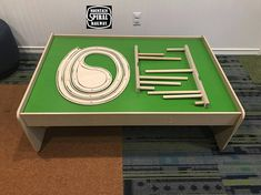 """PRODUCT DESCRIPTION Mountain Spiral Railway, Table-Top, is a custom, wood track that connects to standard wooden Thomas and Brio track sets. It is similar to the original but optimized for play on top of standard train tables! The track ascends nearly 15"""" as it sweeps around two"""
