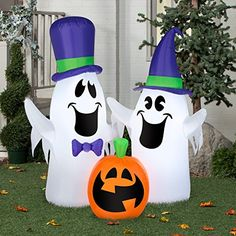 Airblown Inflatable Ghosts and Pumpkin Scene by Gemmy Industries ** Click image to review more details.  This link participates in Amazon Service LLC Associates Program, a program designed to let participant earn advertising fees by advertising and linking to Amazon.com.