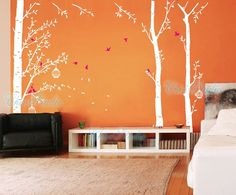 Tree Vinyl Wall Decals wall sticker kids wall decal nursery vinyl decals-Forest with birdcage-set of 3 via Etsy Room Stickers, Kitchen Wall Stickers, Kids Wall Decals, Nursery Wall Decals, Vinyl Decals, Wall Ideas, Room Ideas, Decor Ideas, Hallway Inspiration