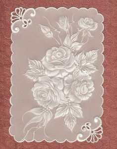 Air lace technique Pergamano : Parchment Craft, also known as Pergamano, is the art of embellishing and decorating parchment paper (or vellum paper) through the use of techniques such as: embossing, perforating, stippling, cutting and coloring.