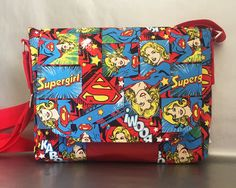 Supergirl Fabric Bag - Supergirl gift - DC Comics Gift  - Handmade - Pop Culture Bag - OOAK - Made in australia by LouLouandMo on Etsy