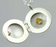 Locket wBirthstone Small in Sterling by LaineBenthalldesigns, $181.00