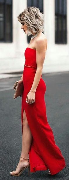 Red long Coktail Dress