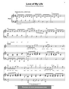 Love of My Life (Queen): For voice and piano by Freddie Mercury Drum Lessons, Music Lessons, Guitar Lessons, Cello Sheet Music, Piano Music, Freddie Mercury, Love Of My Live, Music Love, Easy Piano
