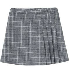 Plaid Pleat Short Skirt (38 CAD) ❤ liked on Polyvore featuring skirts, bottoms…