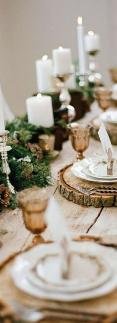 Winter Tablescape Ideas #rustic #country #table
