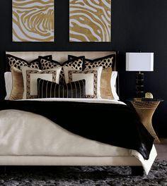 Glam Bedroom, Home Bedroom, Bedroom Ideas, Home Design, Interior Design, Gold Interior, Luxury Home Decor, Luxury Homes, Black Gold Bedroom