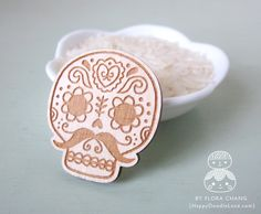 Day of the Dead Wooden Brooch $13.00 by HappyDoodleLand on Etsy