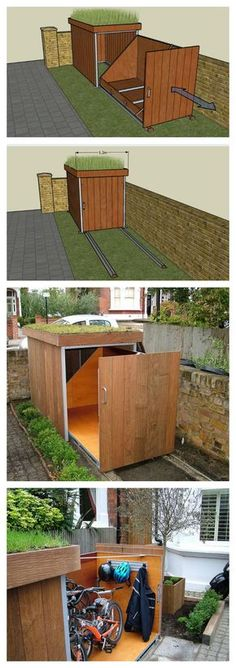 DIY Build a Bicycle Storage Shack # Build # Bicycle Rack - Diydekorationhomes.club - DIY Build a Bicycle Storage Shack # Build # Bicycle Rack - Bike Storage Hacks, Yard Tool Storage Ideas, Garage Storage, Diy Storage, Outdoor Bike Storage, Hidden Storage, Backyard Storage, Bike Storage Drawer, Bike Storage Shed Diy