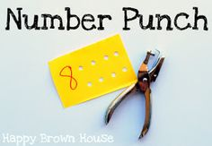 a great idea - give kids a punch and numbered cards - covers counting and hand strengthening! Could finish by getting them to thread string through the holes - fine motor skills too!!