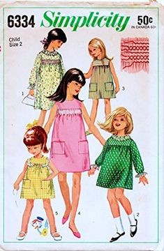 Simplicity 6334 Vintage Sewing Pattern, Girls' Dress with Yoke and Simulated Smocking,Check offers for Size Simplicity Childrens Sewing Patterns, Vintage Sewing Patterns, Smocking Patterns, Retro Illustration, Simplicity Patterns, Vintage Children, Sewing Crafts, Girls Dresses, Fashion Design