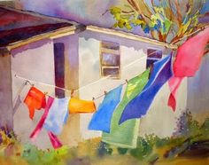 Clothesline Watercolor by Kay Smith via Artcolony (I'm trying to imagine sunny spring breezes after an overnight ice storm. Thank you, Kay.)