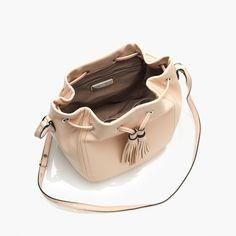 Tassel-tie bucket bag in smooth leather