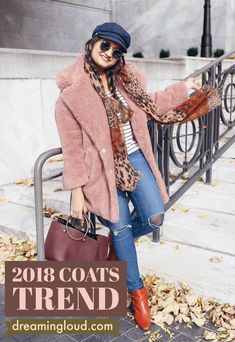 2018 Winter Coat Trends   dreamingloud.com  -------------------------------------------- pink Faux fur coat, blush faux fur coat, stripe tee, ag distressed skinny jeans, leopard scarf, Briton fisherman hat, red booties, winter outfits, street style, fashion blogger, trending winter outfits