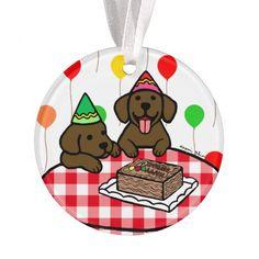 Chocolate Lab Puppies Happy Birthday Ornament!  #chocolatelabrador #birthdaygifts