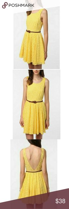 Pins and needles Yellow lace  Small rip in lace on shoulder Small stain, haven't tried to remove. Urban Outfitters Dresses
