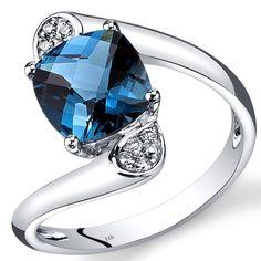 14K White Gold London Blue Topaz Diamond Bypass Ring Cushion Cut 2.33 Carats Total