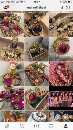 Desi Wedding Decor, Indian Wedding Favors, Wedding Stage Decorations, Diy Wedding Favors, Wedding Gift Baskets, Wedding Gift Wrapping, Wedding Gift Boxes, Pakistani Mehndi Decor, Thali Decoration Ideas