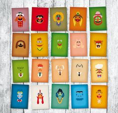 The Muppets Show Minimalist FULL 20 Print Collection of Muppet Babies Vintage Retro Style TV Character Invitation Nursery Art Decor 5 x 7