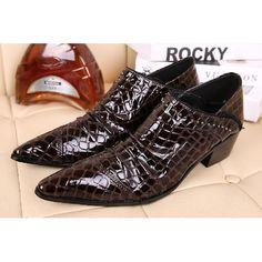 Chocolate Brown Crocodile Leather High Heel Punk Rock Dress Shoes Men SKU-1280890