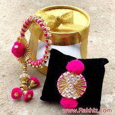 Royal Stylish Bangle Ad Lumba For Bhabhi N Rakhi for Brother Gota Patti Jewellery, Rakhi Bracelet, Buy Rakhi Online, Handmade Rakhi Designs, Rakhi For Brother, Rakhi Making, Bead Jewellery, Branded Jewellery, Diy Bracelets Easy