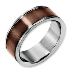 Stainless Steel 8mm Brown Plated Brushed Wedding Ring Band Size 11.00 Fancy Making Things Convenient For Customers Jewelry & Watches