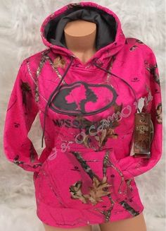 Women Mossy Oak HOT PINK Camo Warm Performance Pullover Hoodie S M L XL 2XL    6d6fe9229
