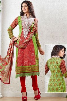 Yellow Green and Rose-madder Red Pashmina Embroidered Churidar Kameez Sku Code:51-4408SL298668 $ 40.00