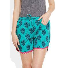 Womens Cotton Printed Beach Shorts Summer Pants Indian X Large SizeWCSRTXL2832 ** Visit the image link more details.