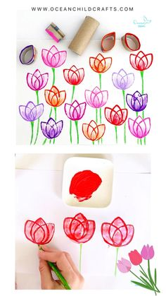 Did you know that you can easily stamp tulips with a paper roll and paint? 🌷🌷 Watch our instruction video! Stamp multiple tulips in different colors, wait about 10 minutes till the paint is almost dry and go over it with a clean brush and plain water, this way you create a nice blending effect (almost like real tulips 😉).  Check our page for more details and other fun craft ideas. Creative Activities For Kids, Fun Crafts For Kids, Creative Play, Summer Crafts, Art For Kids, Arts And Crafts, Toilet Paper Crafts, Simple Birthday Cards, Color Crafts