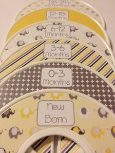 6 Custom Baby Closet Dividers Organizers Yellow and Grey Elephants Baby Nursery Shower Gift - Cothes Dividers