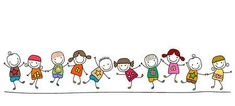 Illustration of happy kids playing vector art, clipart and stock vectors.