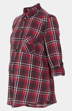 Possibly something I would wear for Red Flannel Festival in my Home Town of CEDAR SPRINGS. Topshop Red Check Maternity Shirt available at Nordstrom $58