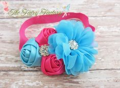 Hot Pink and Turquoise Flower Headband by TheFairyFactoryShop