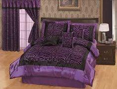 Hot Pink Black Satin Zebra Flocking Comforter Set Full Size With 4 Pillows - Zebra Print Comforter Sets Zebra Bedding, Purple Comforter, Purple Bedding Sets, Queen Comforter Sets, Satin Bedding, Striped Bedding, Teen Bedding, Luxury Bedding, Bedroom Sets