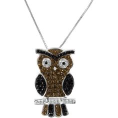 Jewel Exclusive Sterling Silver Clear, Black and Smokey Quartz Crystal... ($20) ❤ liked on Polyvore featuring jewelry, pendants, multi, black crystal jewelry, crystal pendant, black jewelry, crystal owl pendant and owl pendant